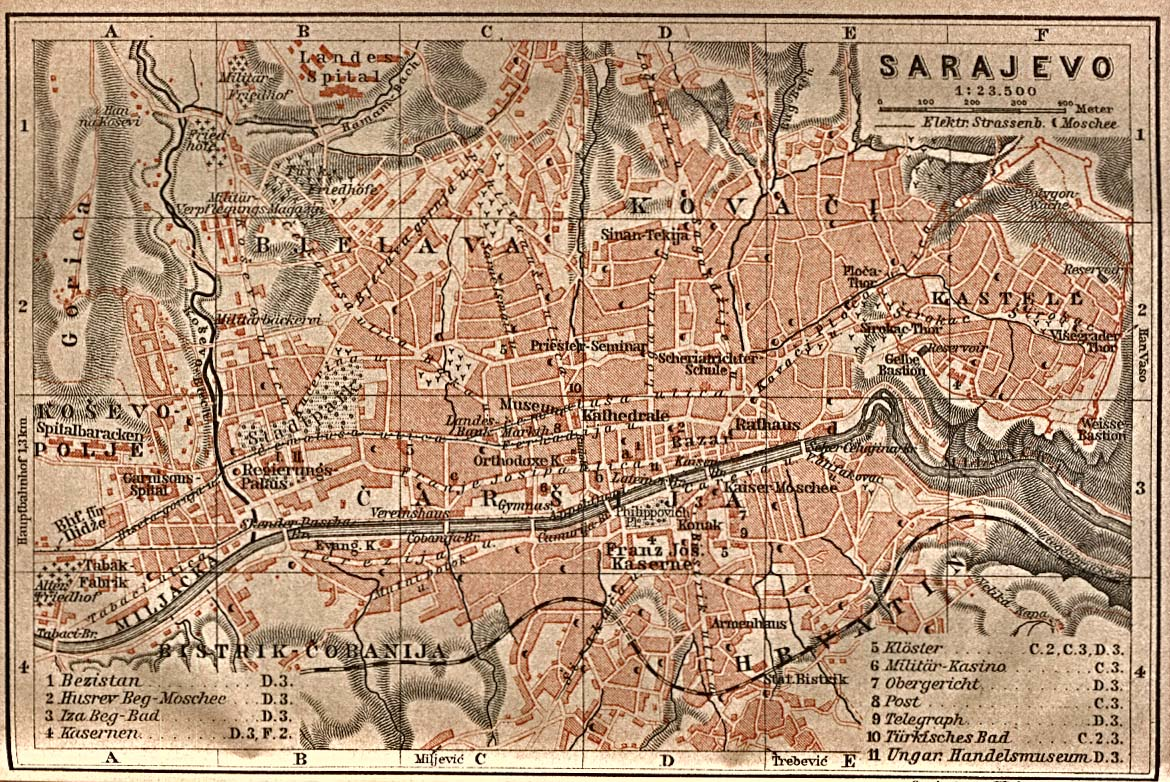 1905 Baedeker tourist map of the city of Sarajevo, from the Perry-Castaneda Library Map