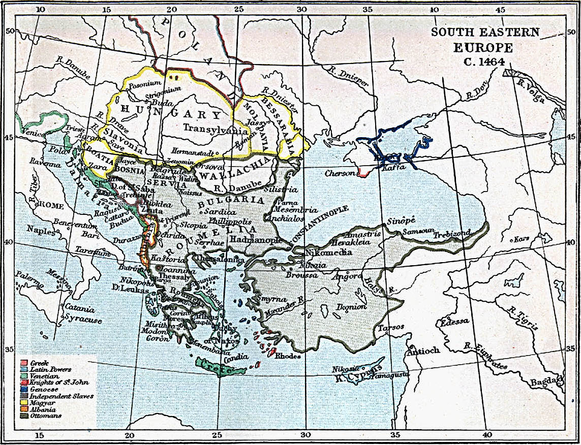 Map Of Hungary , South Eastern Europe 1464 A.D. (400K)