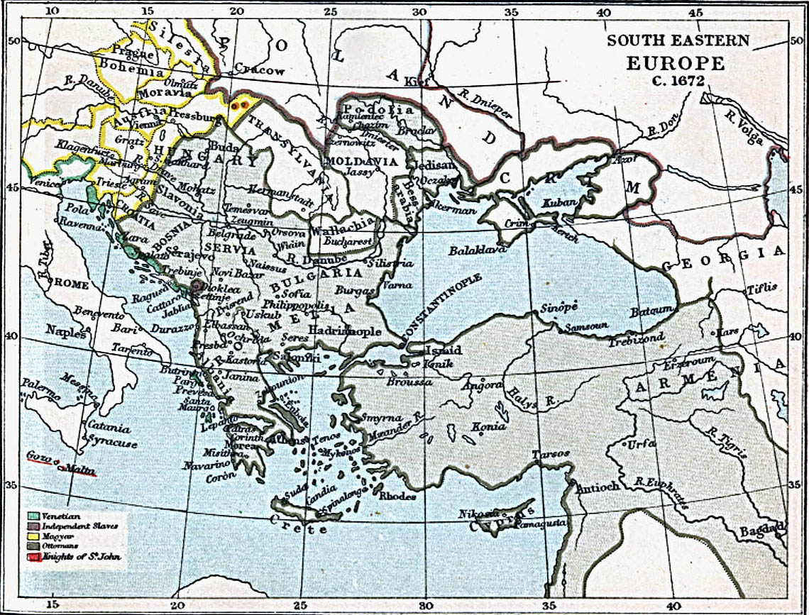 Map Of Hungary , South Eastern Europe 1672 A.D. (357K)