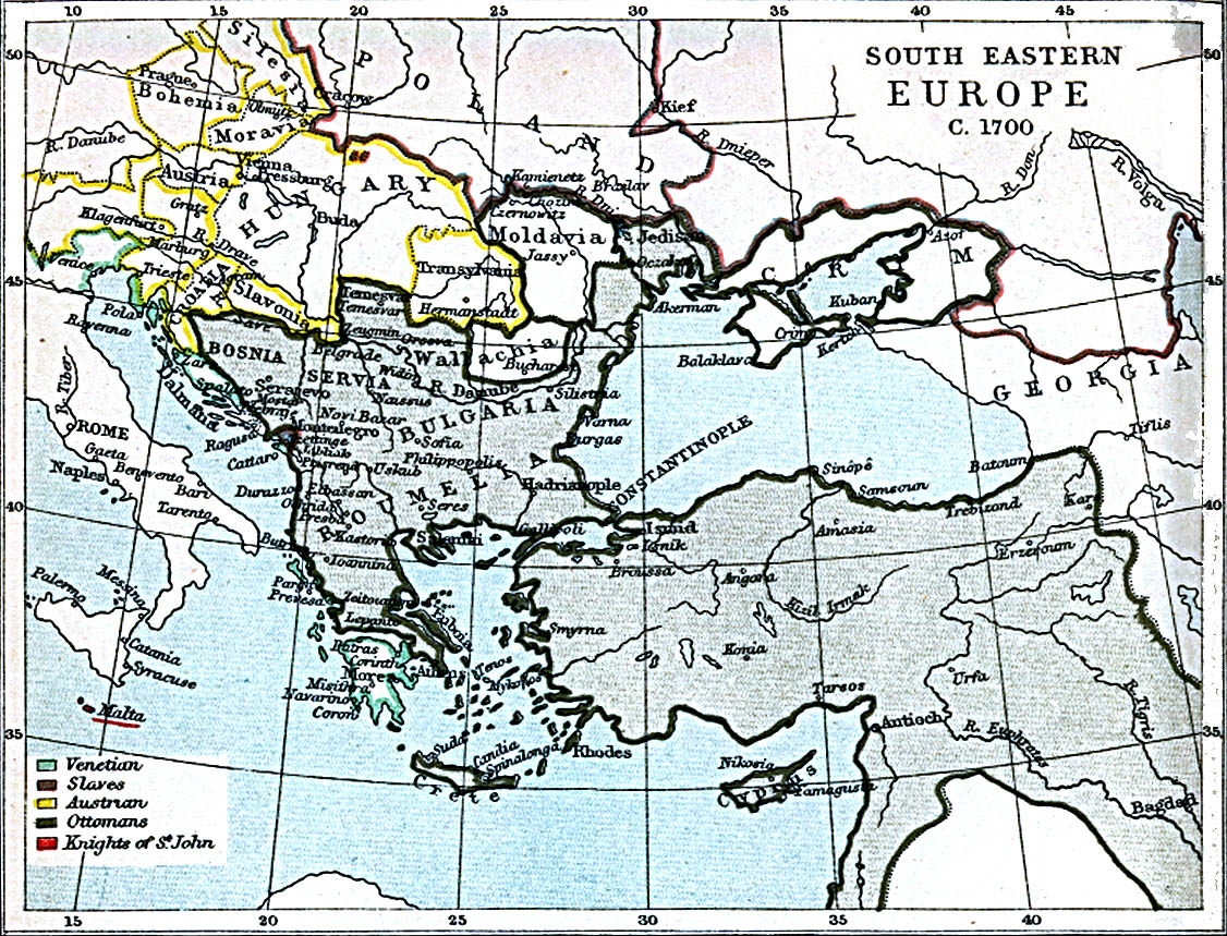 Map Of Hungary , South Eastern Europe 1700 A.D. (391K)