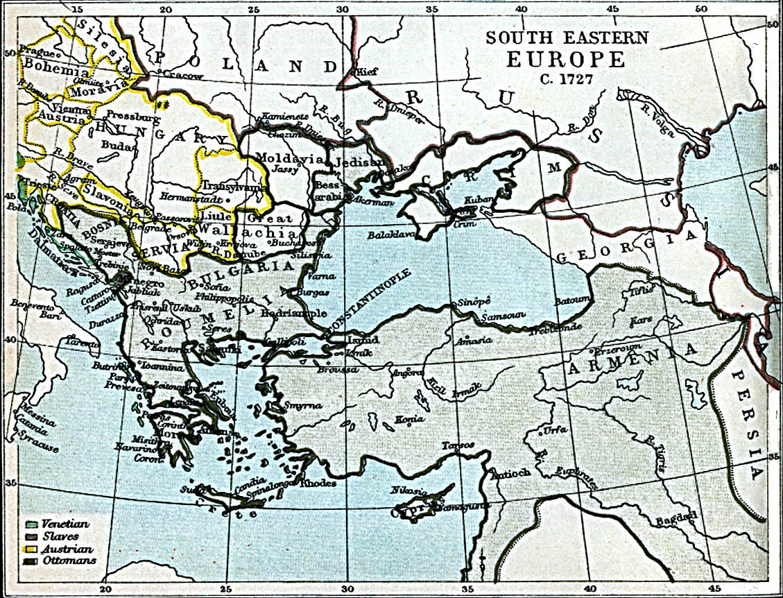 Map Of Hungary , South Eastern Europe 1727 A.D. (374K)