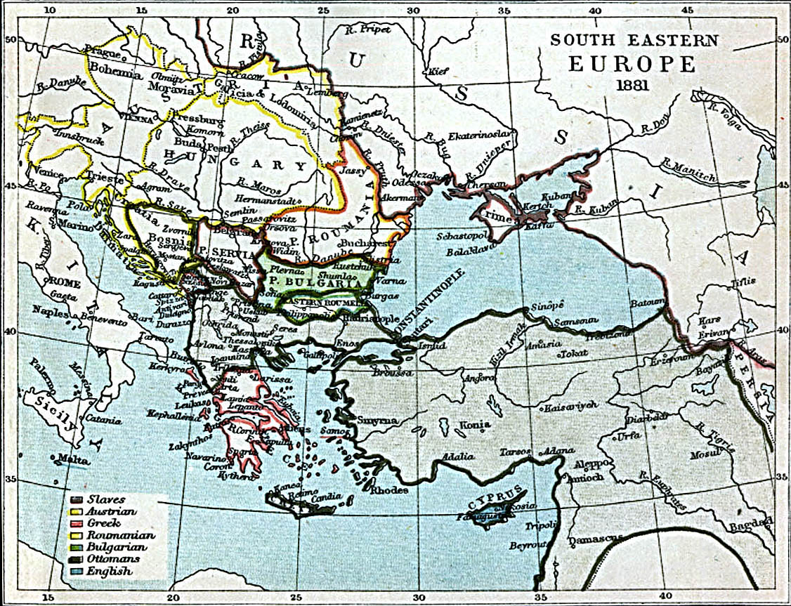 Map Of Hungary , South Eastern Europe 1881 A.D. (374K)