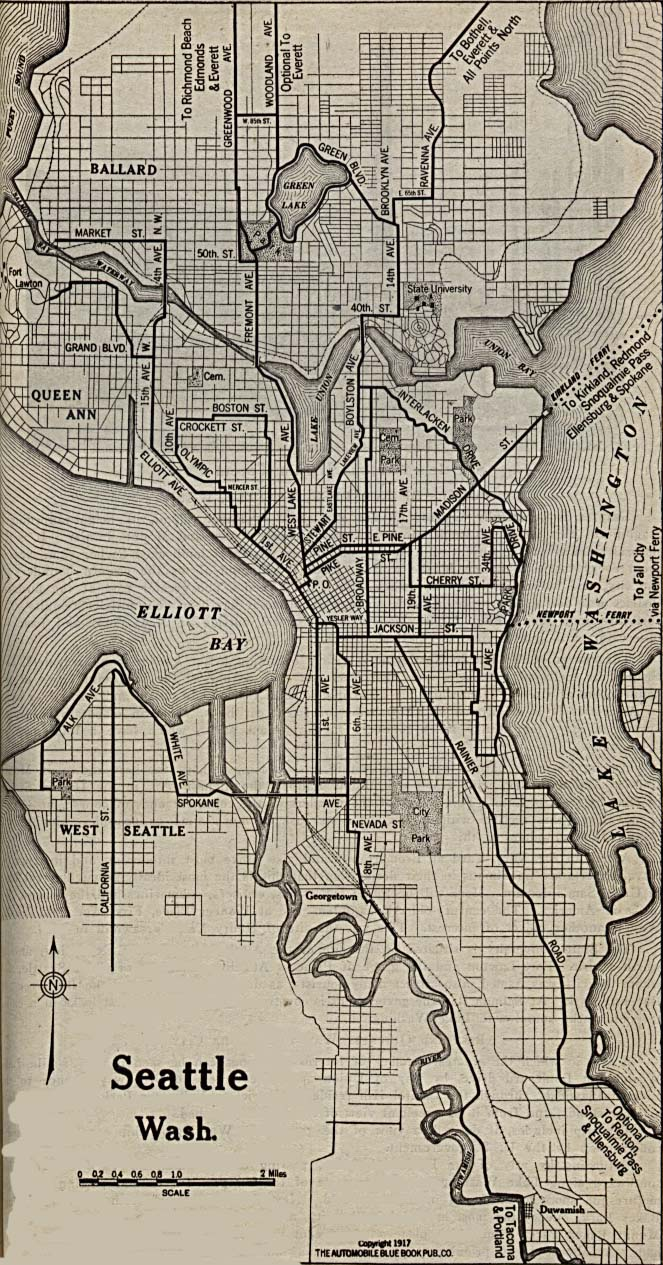 Historical Maps of U.S Cities. Seattle, Washington 1917 Automobile Blue Book (289K)