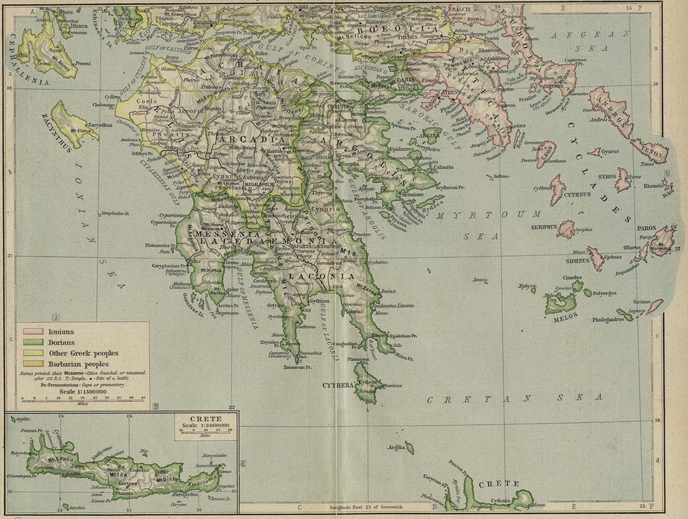 Reference Map Of Ancient Greece Southern Part