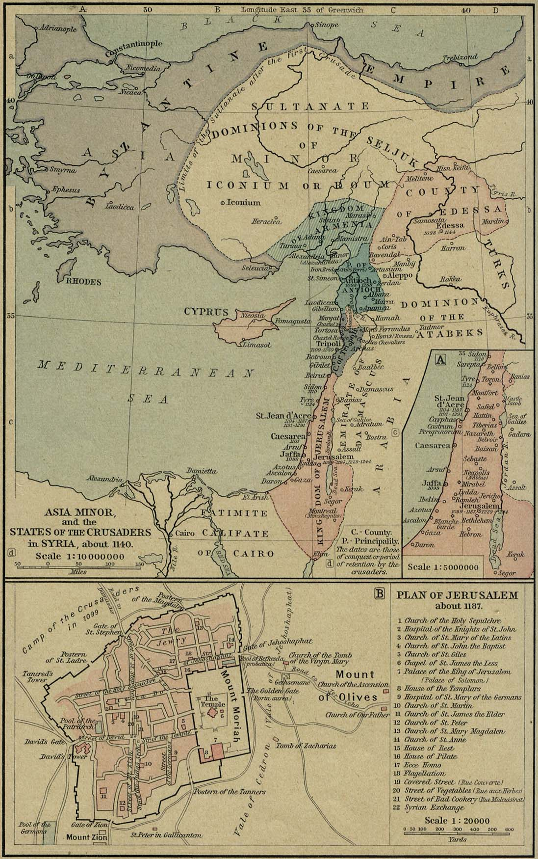 Middle east historical maps perry castaeda map collection ut asia minor and the states of the crusaders in syria gumiabroncs Gallery