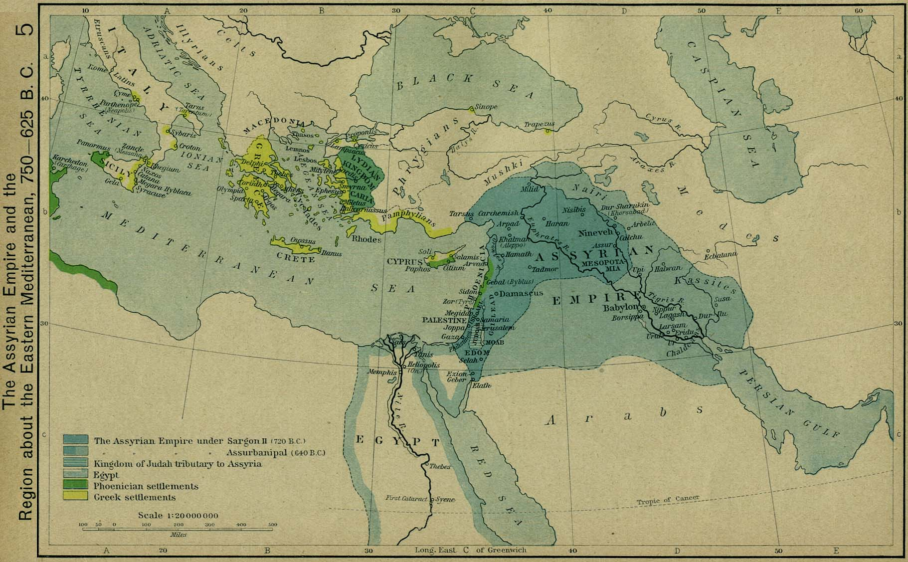 the assyrian empire and the region about the eastern mediterranean 750 625 bc