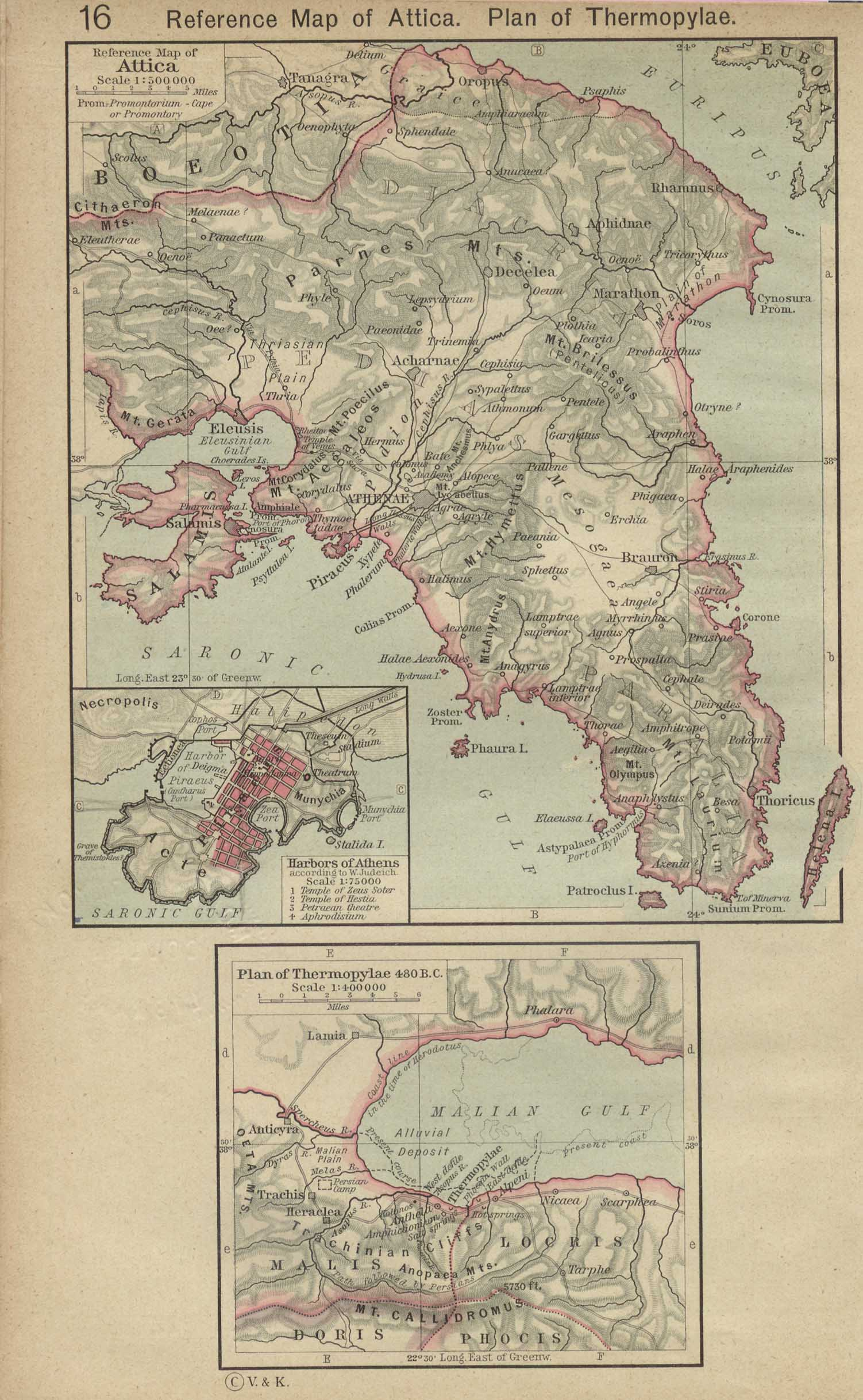 Map Of Greece , Reference Map of Attica. Plan of Thermopylae, 480 B.C. Inset: Harbors of Athens. From The Historical Atlas by William R. Shepherd, 1923.(500K)