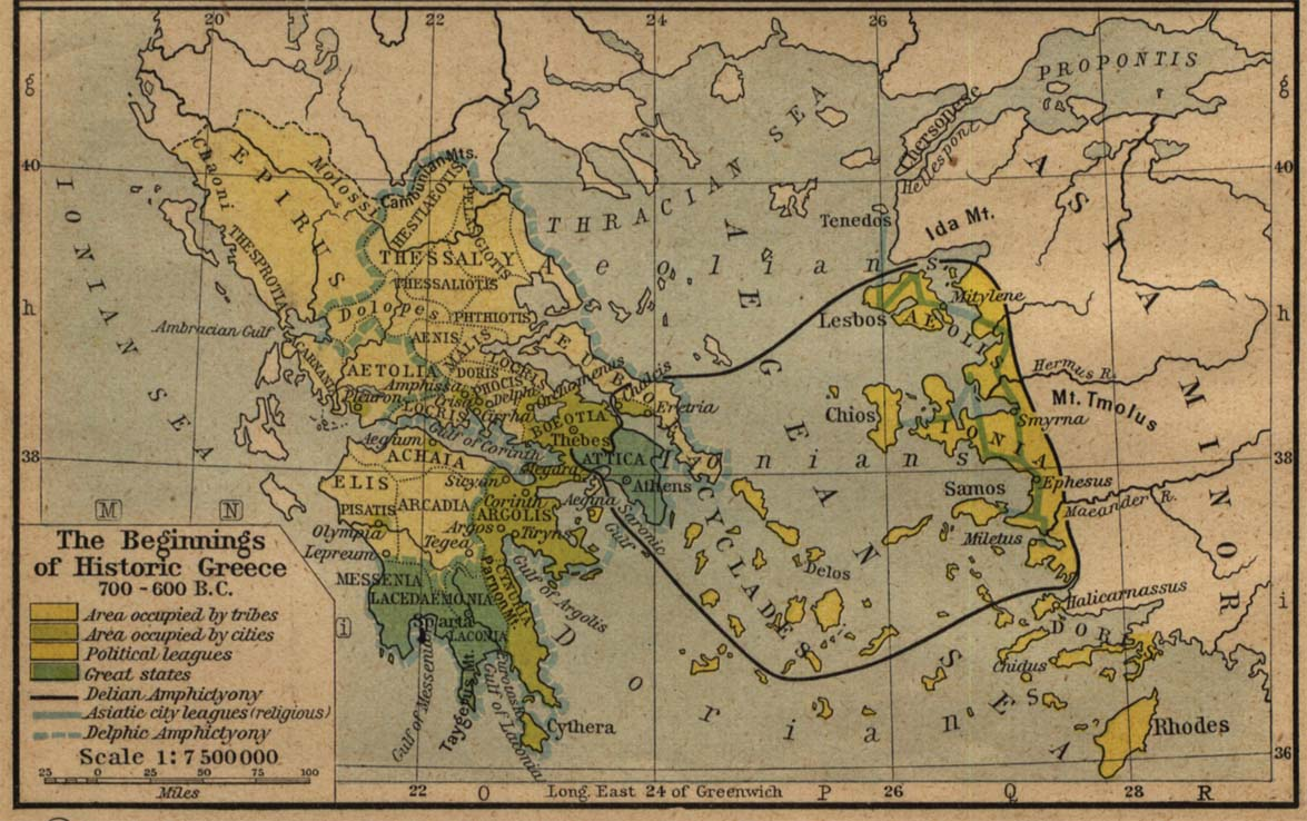 Historical Maps of Europe. Beginnings of Historic Greece 700 B.C.-600 B.C. (177K) From The Historical Atlas by William R. Shepherd, 1923..