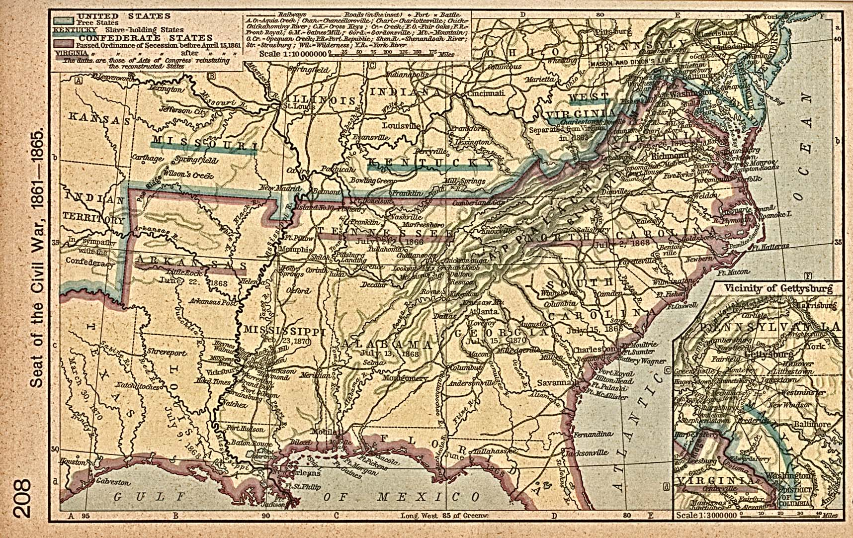 Map Of Georgia 1865.United States Historical Maps Perry Castaneda Map Collection Ut