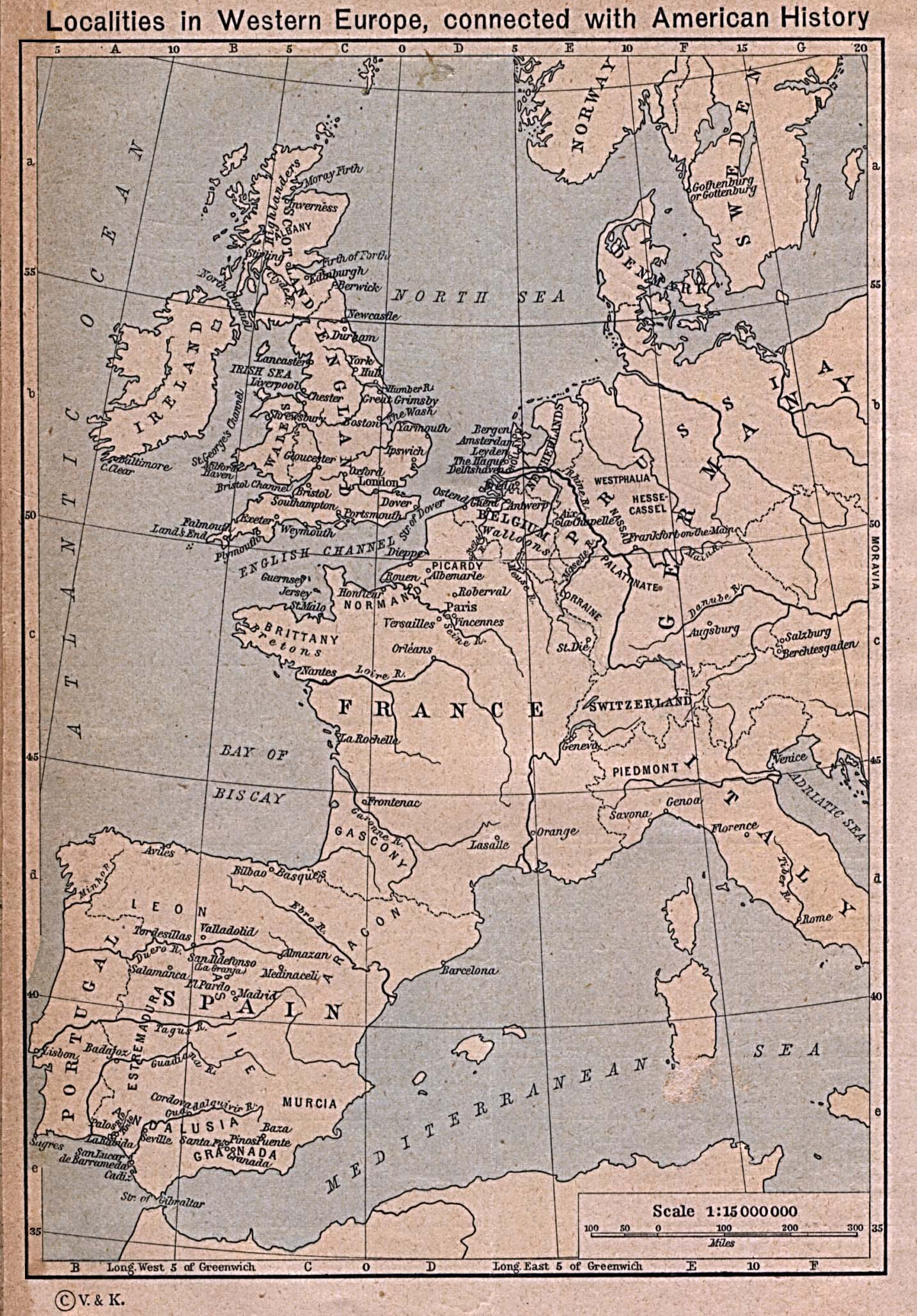 Historical Maps of Europe. Localities in Western Europe connected with American History (519K) From The Historical Atlas by William R. Shepherd, 1923.