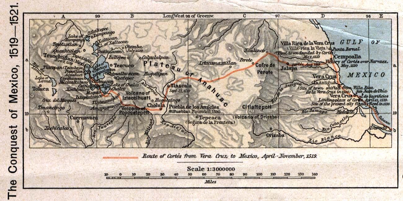 Hernan Cortes Exploration Route Map: Hernando Cortes