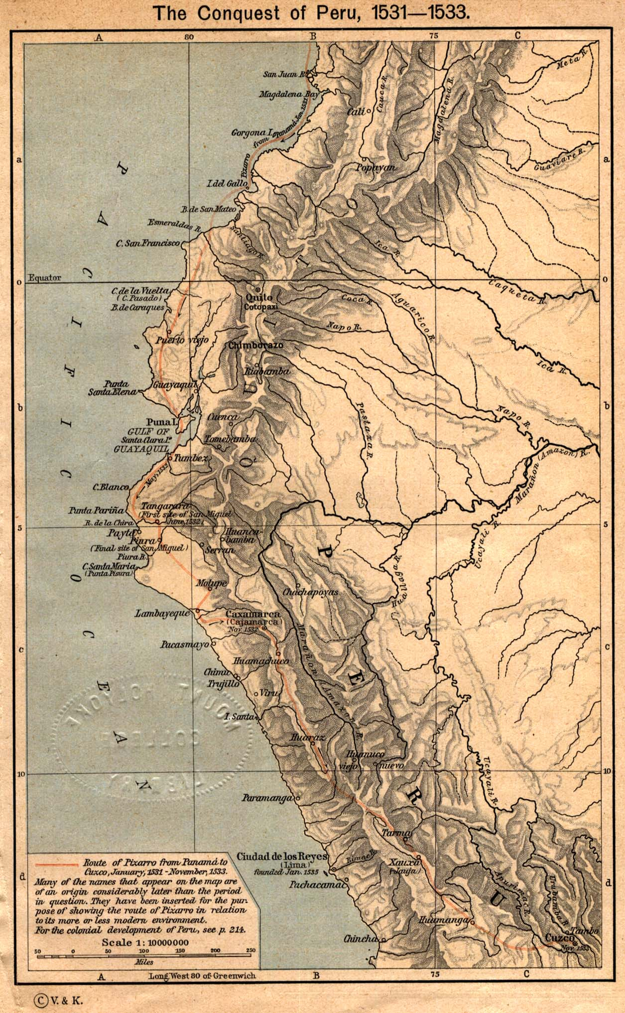 Peru maps perry castaeda map collection ut library online the conquest of peru 1531 1533 from the historical atlas gumiabroncs Gallery