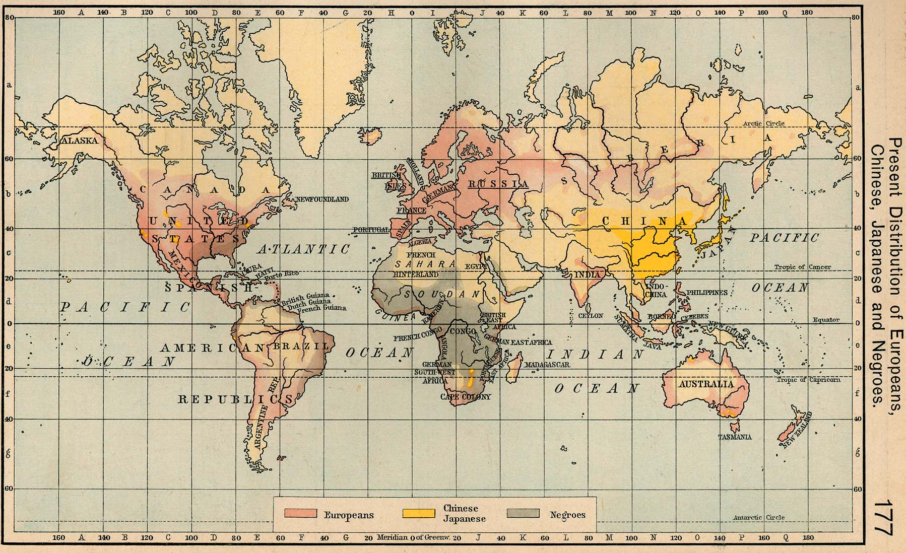 present distribution of europeans chinese japanese and negroes 1911