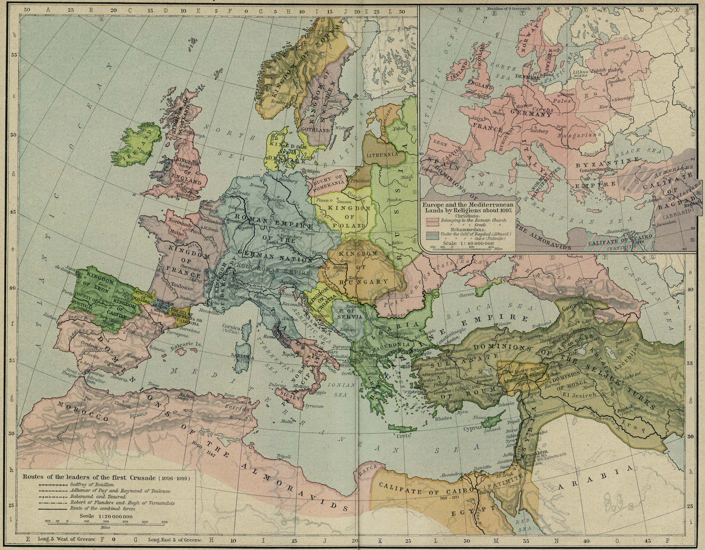 Historical atlas by william r shepherd perry castaeda map europe and the mediterranean lands about 1097 gumiabroncs Gallery