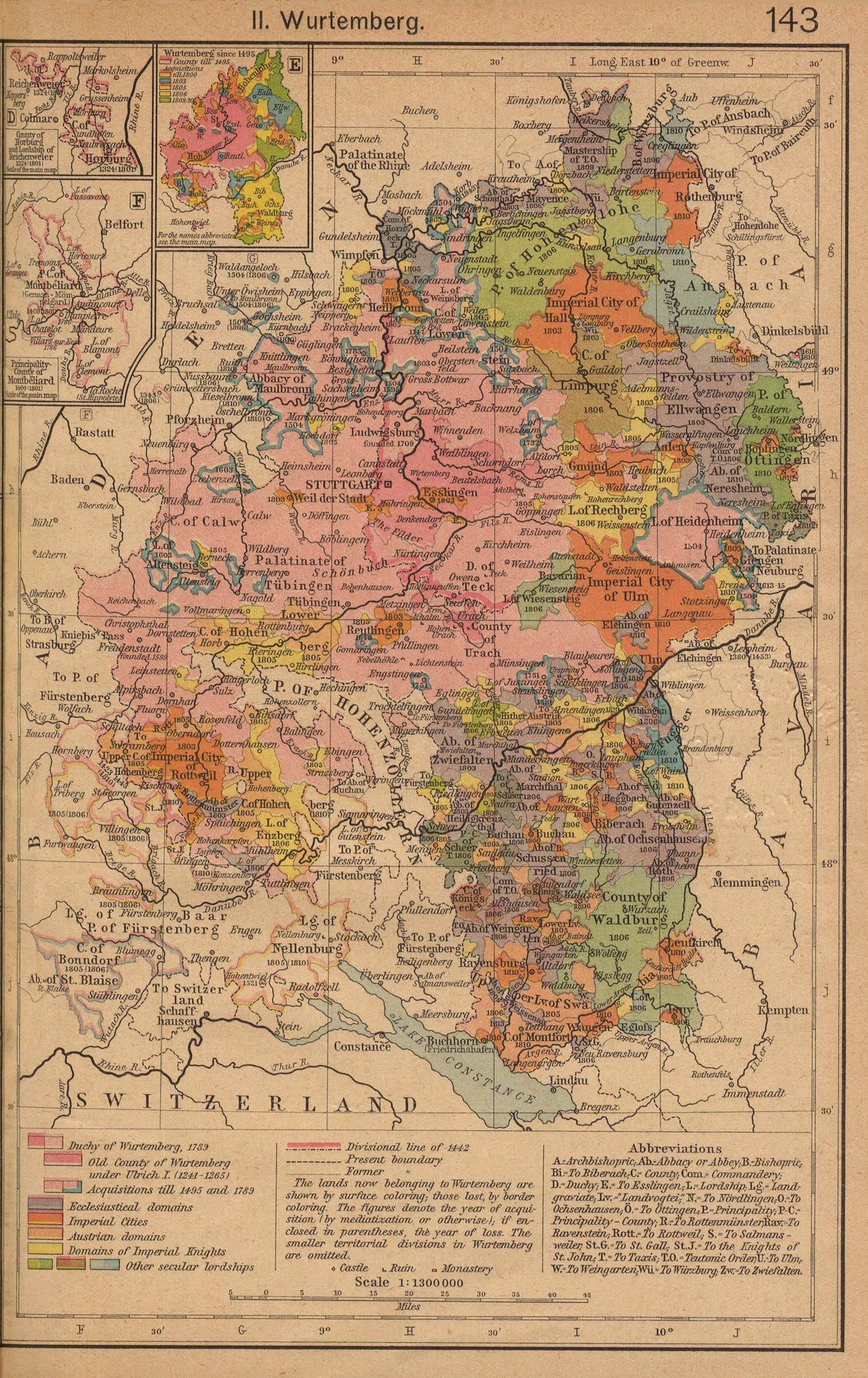 Historical Maps of Europe. German States Before and since the French Revolution: II. Wurtemberg (698K) Insets: County of Horburg and Lordship of Reichenweier. Principality-County of Montbeliard. Wurtemberg since 1495. From The Historical Atlas by William R. Shepherd, 1923.