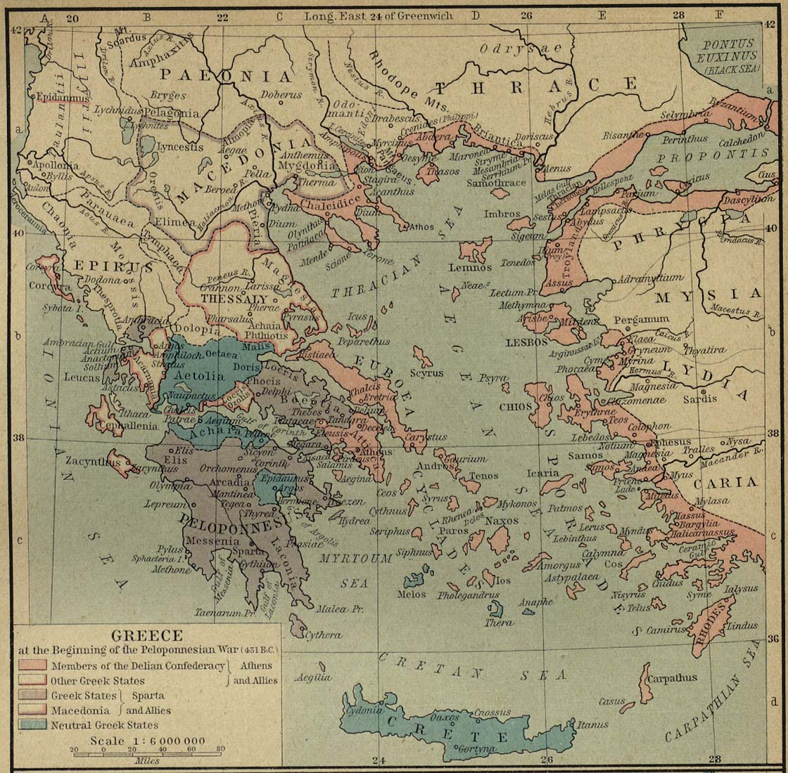 Historical atlas by william r shepherd perry castaeda map greece at the beginning of the peloponnesian war 431 bc gumiabroncs Images