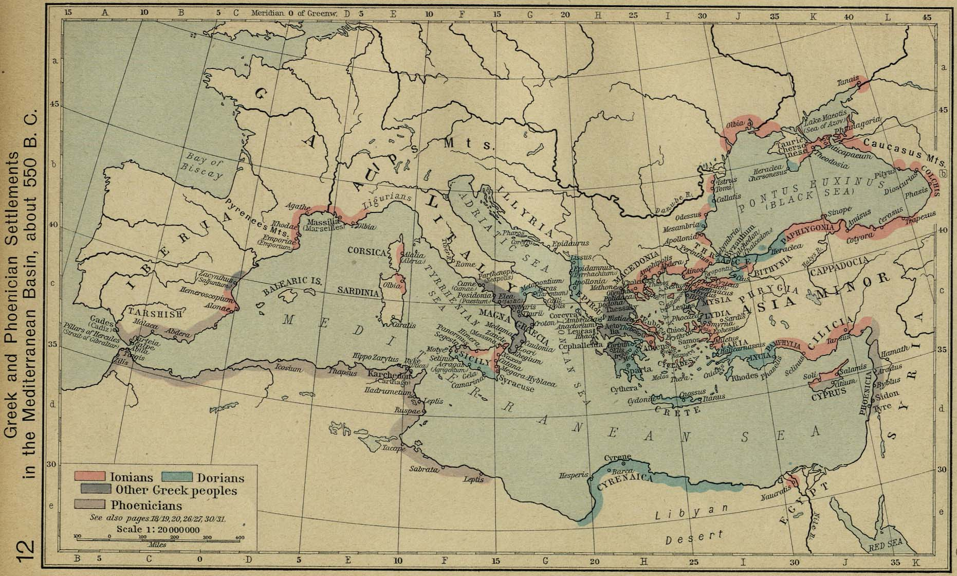 Historical atlas by william r shepherd perry castaeda map greek and phoenician settlements in the mediterranean basin about 550 bc gumiabroncs Gallery
