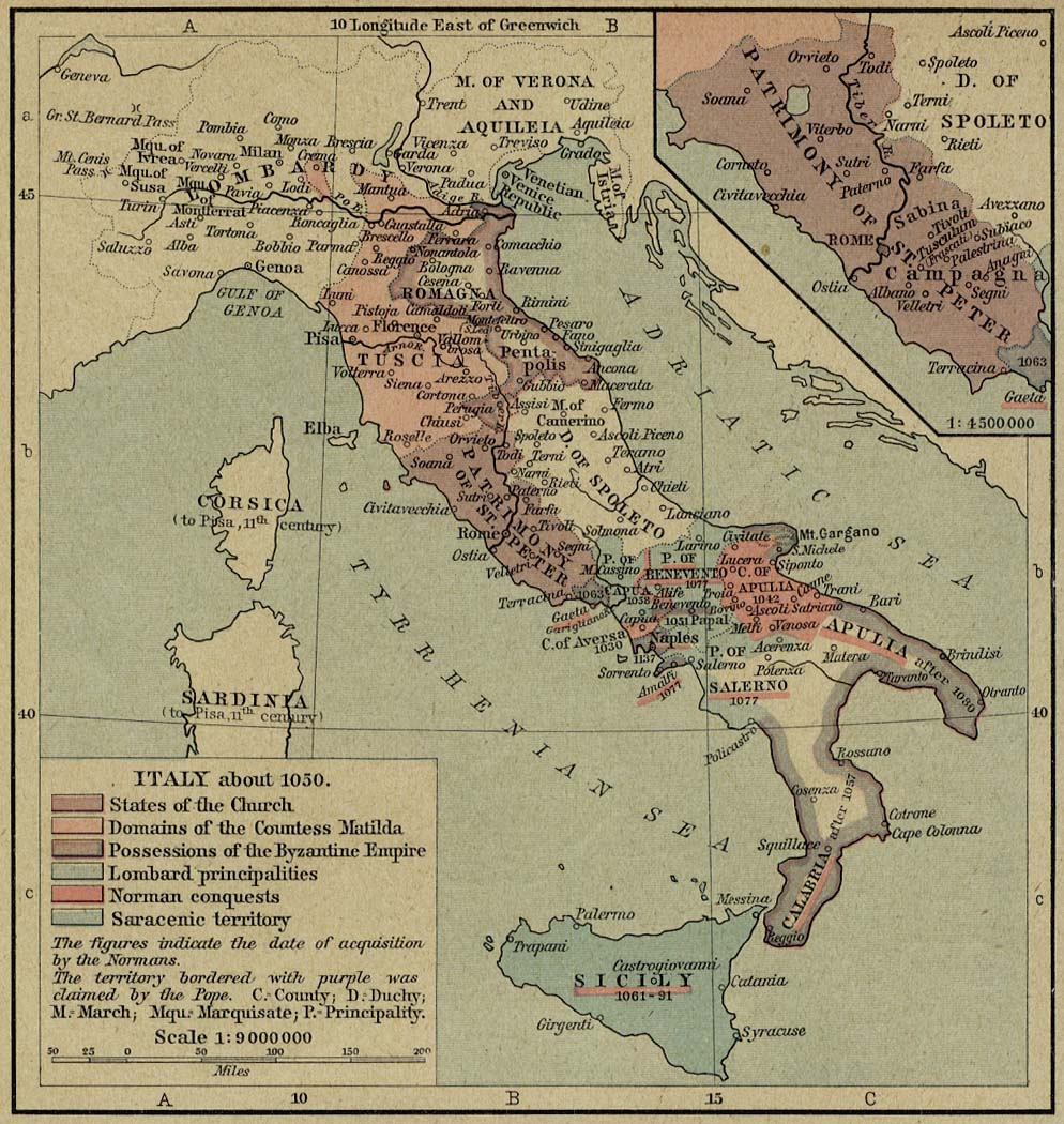 Medieval Map Of Italy.Historical Atlas By William R Shepherd Perry Castaneda Map