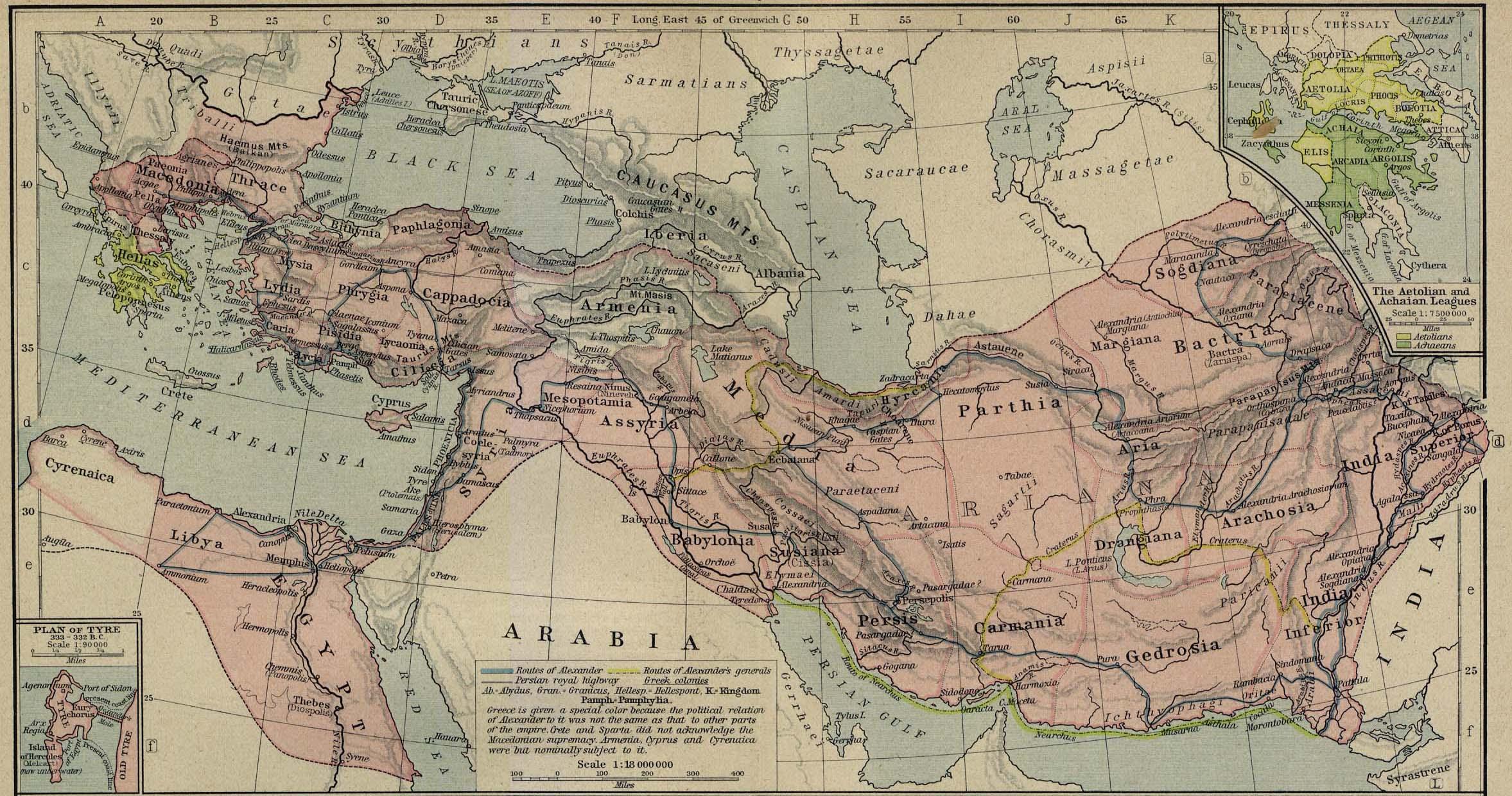 Передняя Азия в эпоху эллинизма (IV-I вв.  Обзорные карты региона.