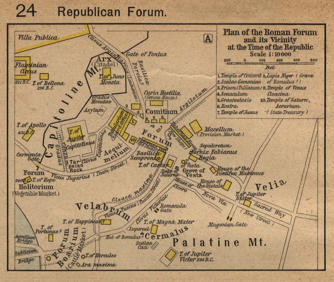 plan of the roman forum and its vicinity at the time of the republic