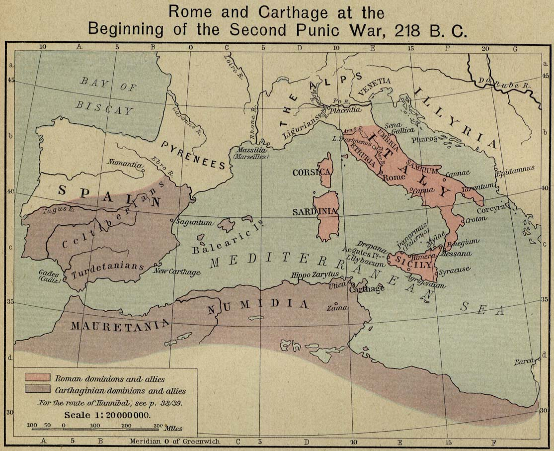 Historical maps of the roman empire rome and carthage at the beginning of the second punic war 218 bc william shepherd historical atlas gumiabroncs Gallery