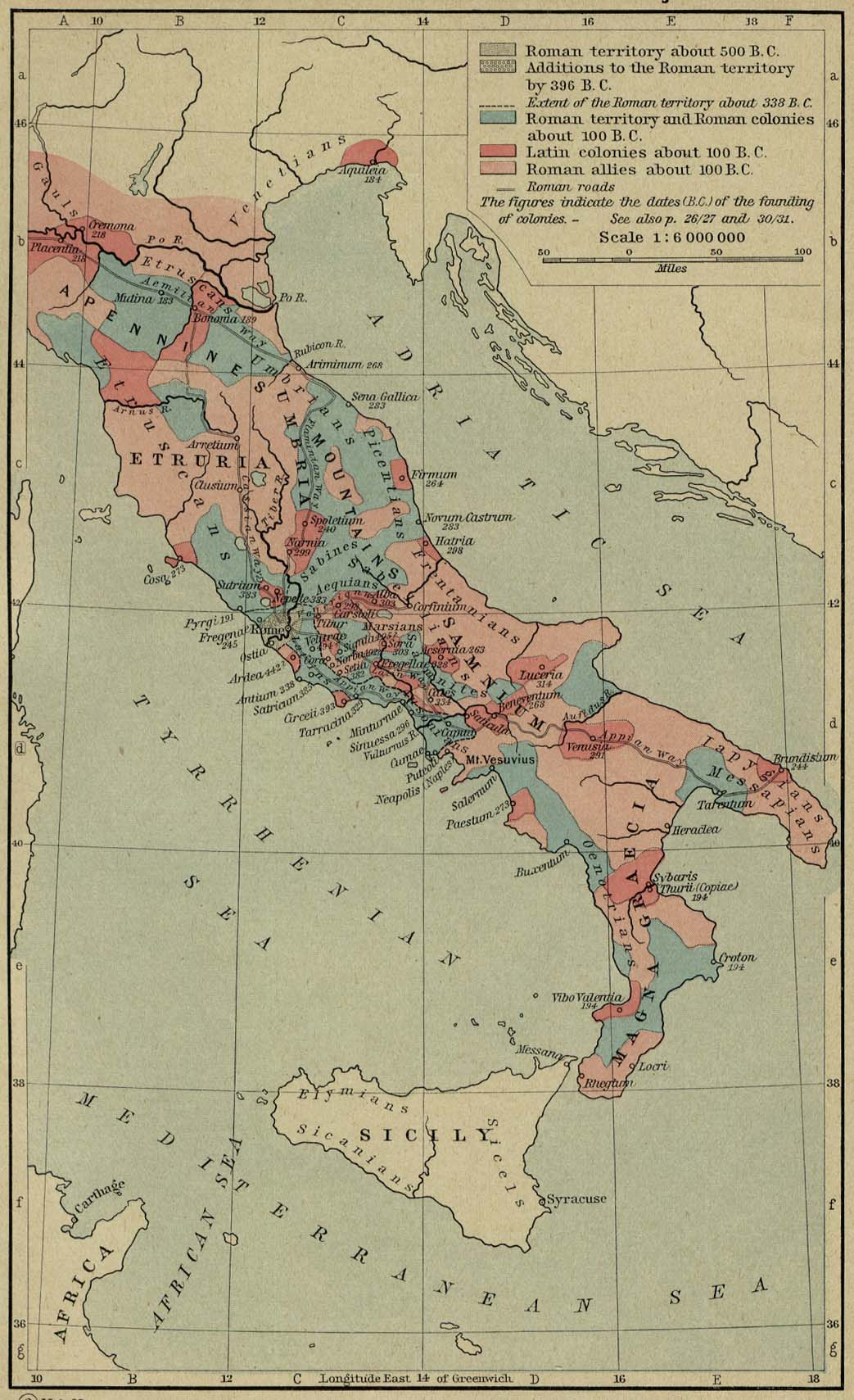 Rome On Map Of Italy.Historical Maps Of The Roman Empire
