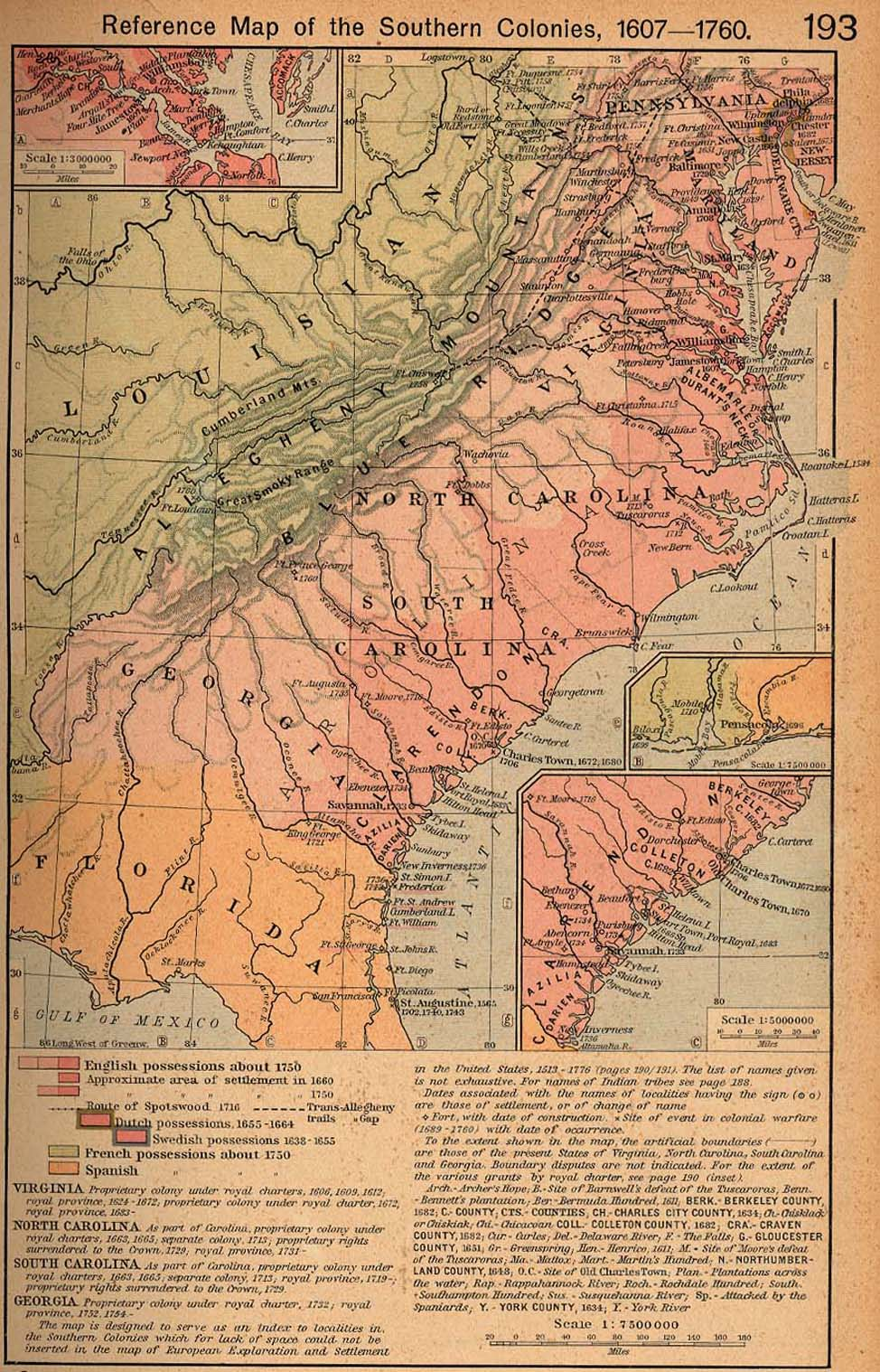 Vintage Maps by David Delmonico   Southern colonies, Map ...