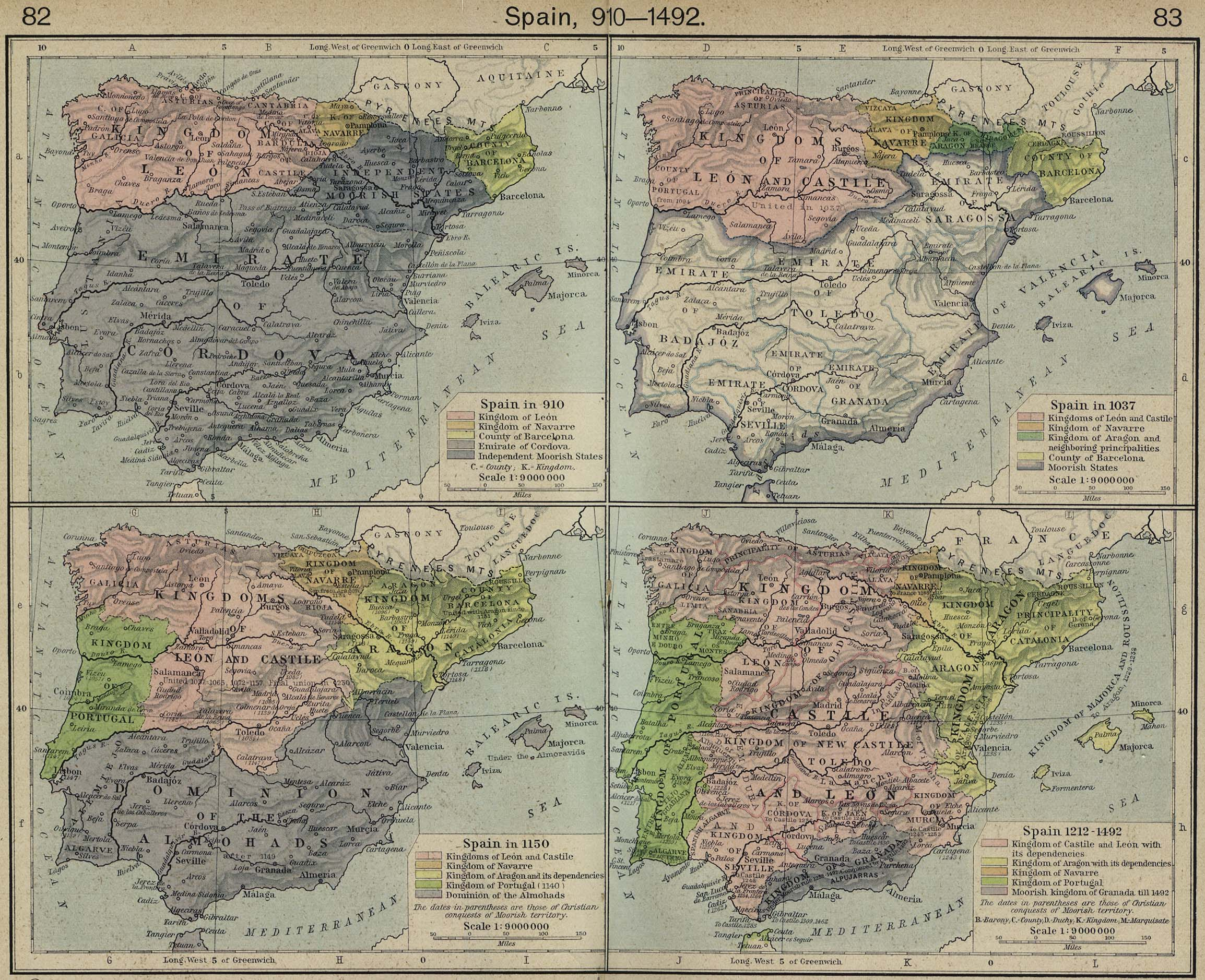 Historical atlas by william r shepherd perry castaeda map spain 910 1492 gumiabroncs Gallery