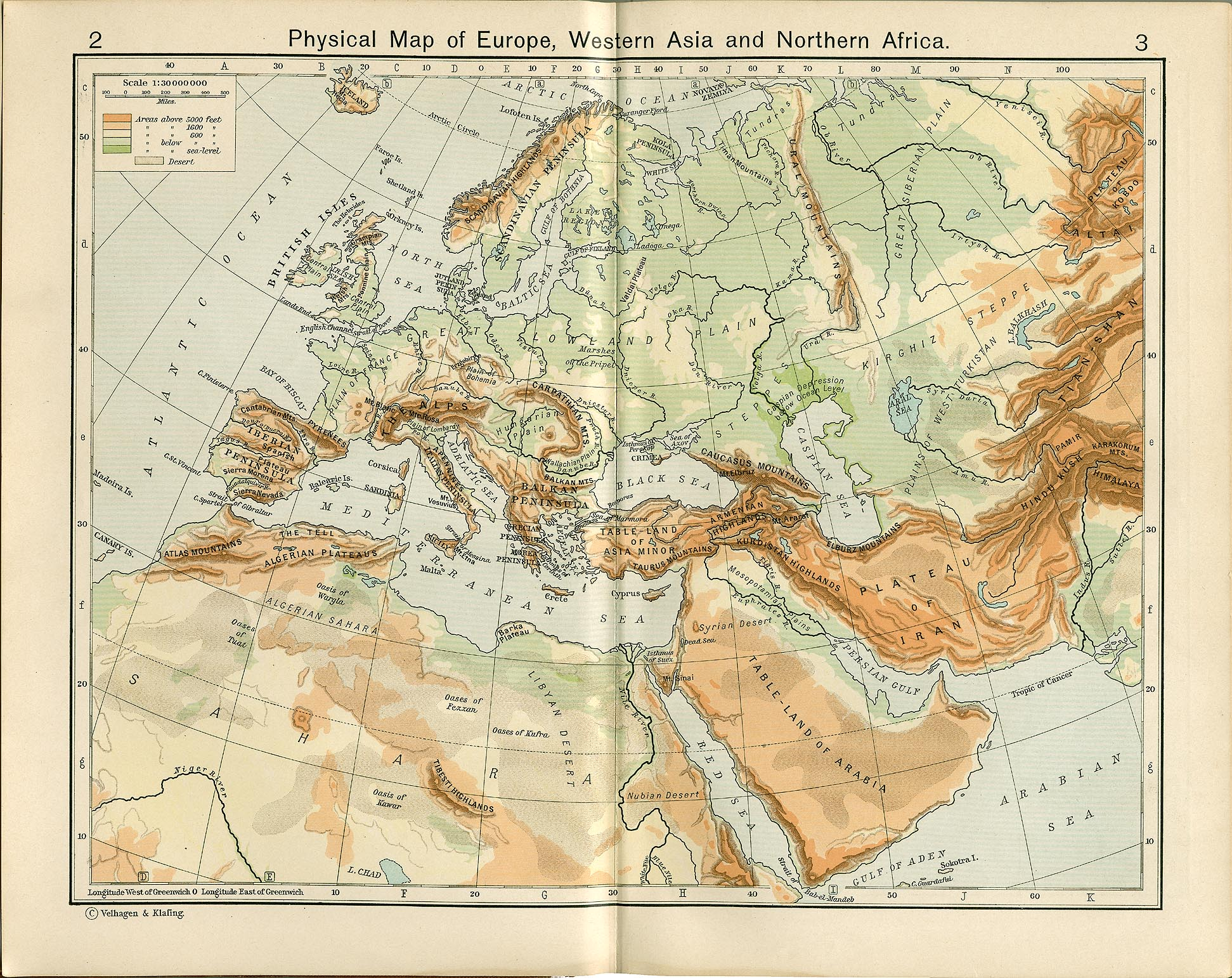 physical map of europe western asia and northern africa
