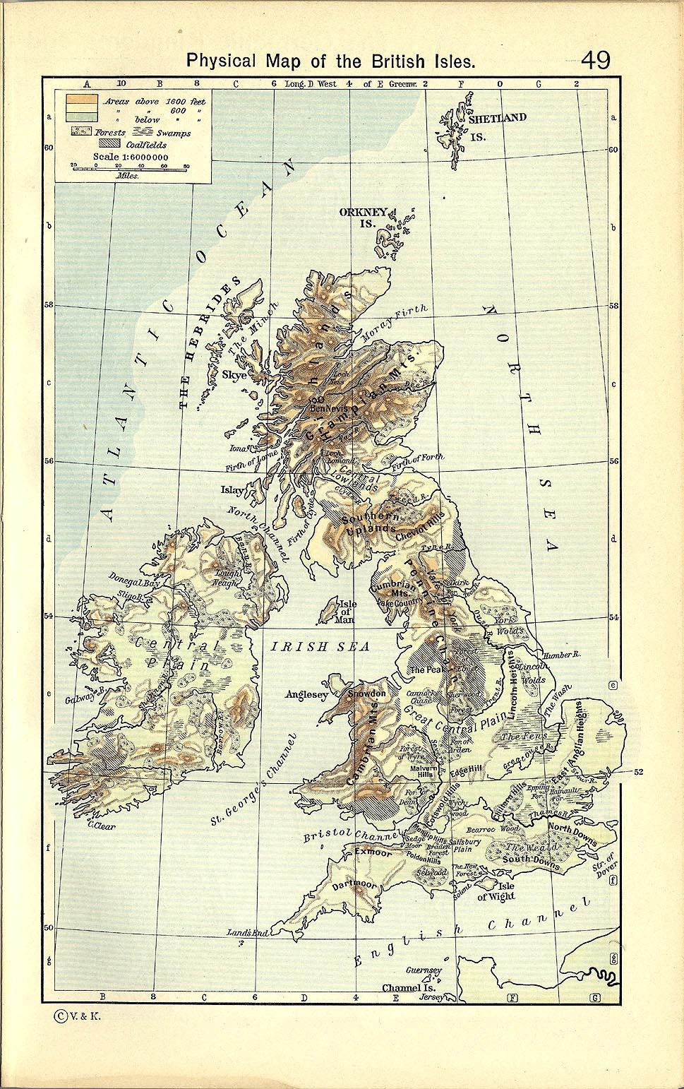 British Isles Physical Map