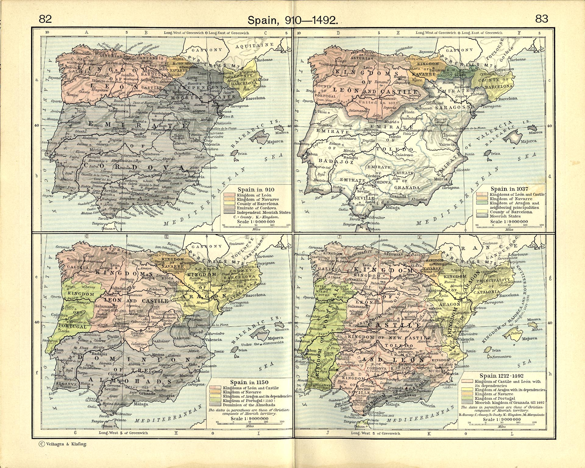 Map Of Spain 8th Century.Historical Maps Of Spain And Portugal