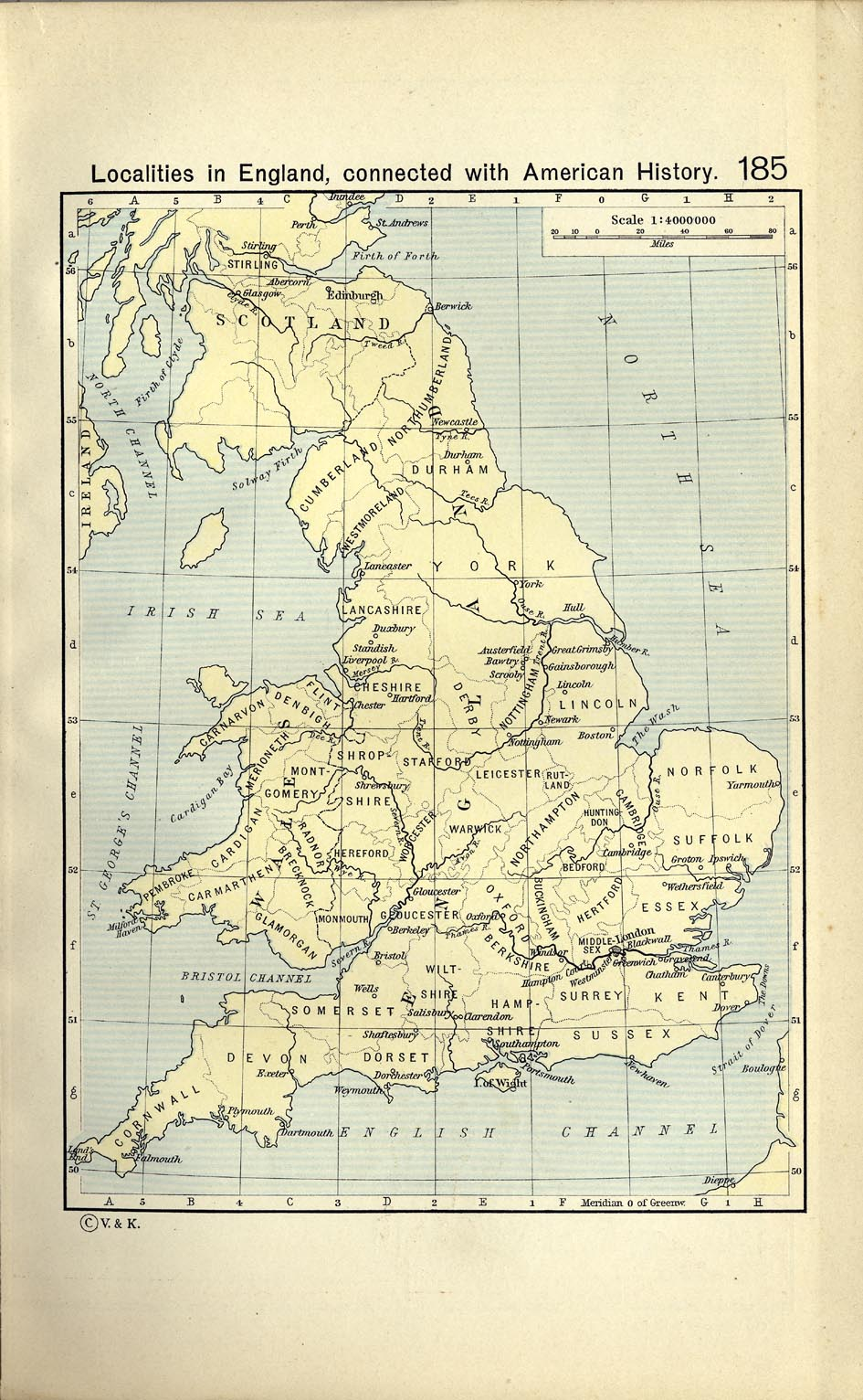 Localities in Inglaterra connected with American History.