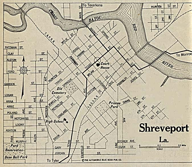 Historical Maps of U.S Cities. Shreveport, Louisiana 1920 Automobile Blue Book (162K)