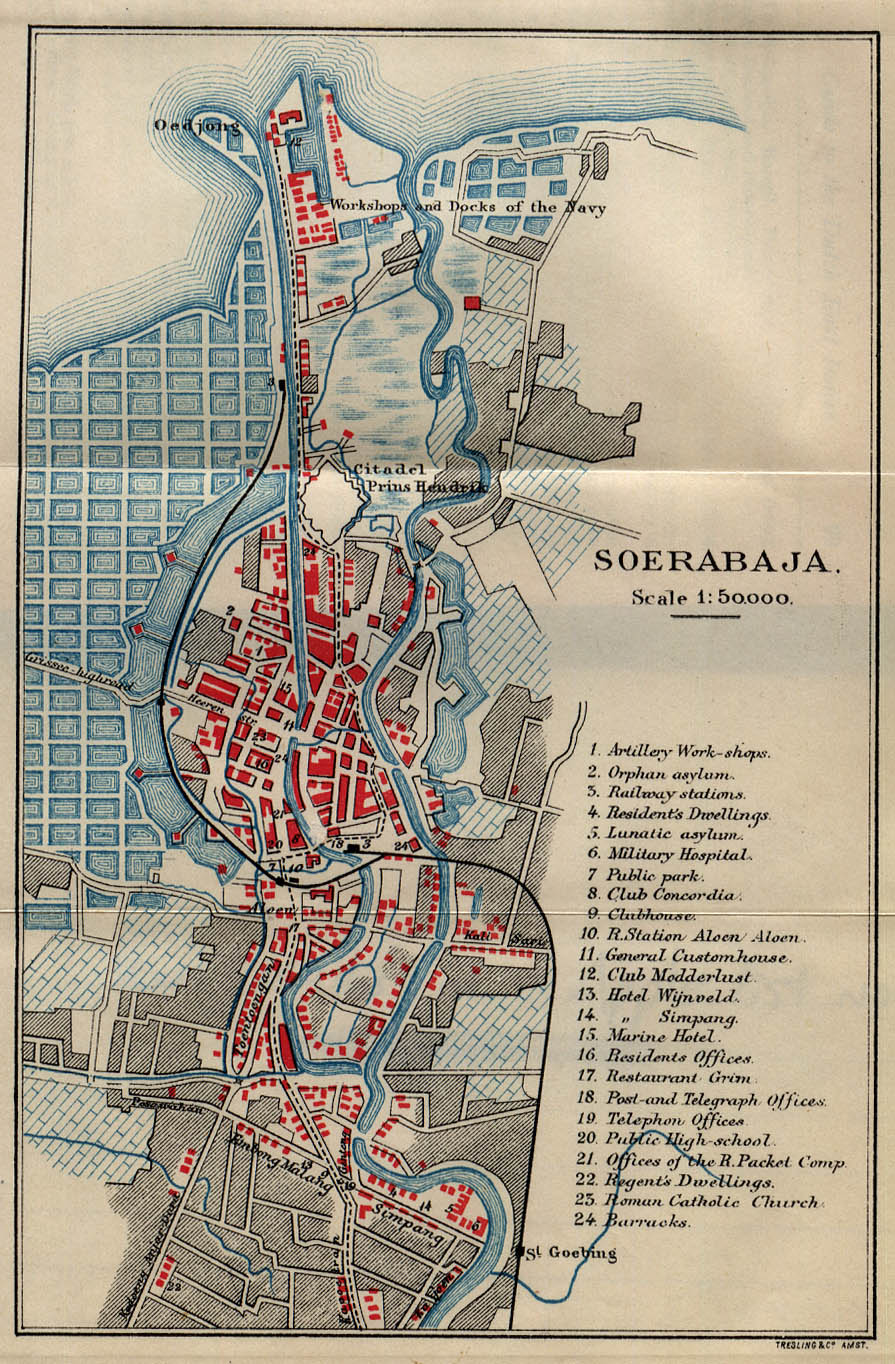 Historical Maps of Asia. Soerabaja [Surabaya] 1897 (452K)From Guide to the Dutch East Indies by Dr. J.F. van Bemmelen and G.B. Hoover, Luzac & Co, London 1897