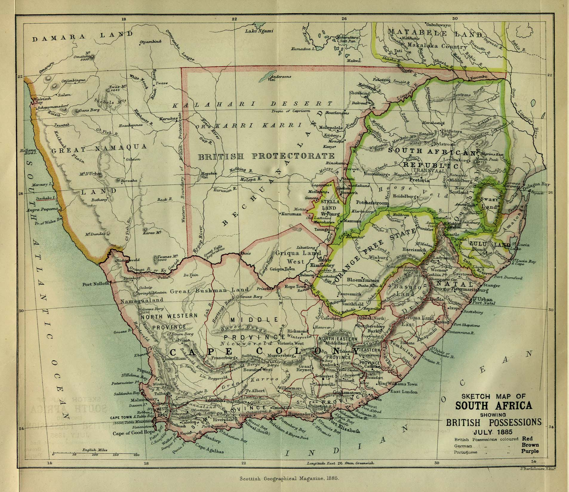 Getting started african history gsu library research guides at sketch map of south africa showing british possessions july 1885 from the scottish geographical magazine published by the scottish geographical society gumiabroncs Gallery