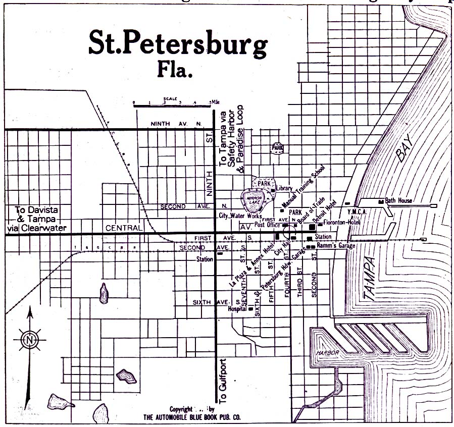 Historical Maps of U.S Cities. Saint Petersburg, Florida 1919 Automobile Blue Book (193K)