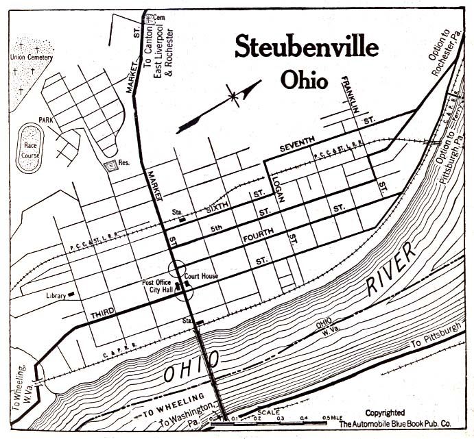 Historical Maps of U.S Cities. Steubenville, Ohio 1920 Automobile Blue Book (156K)