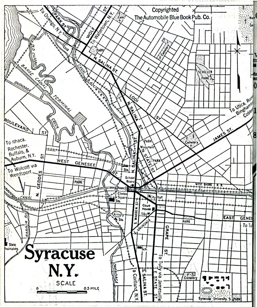 Historical Maps of U.S Cities. Syracuse, New York 1920 Automobile Blue Book (323K)