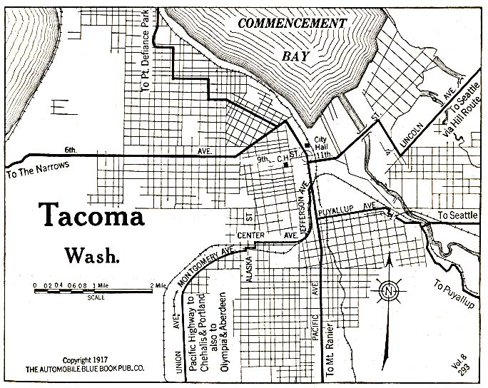 Historical Maps of U.S Cities. Tacoma, Washington 1917 Automobile Blue Book (176K)