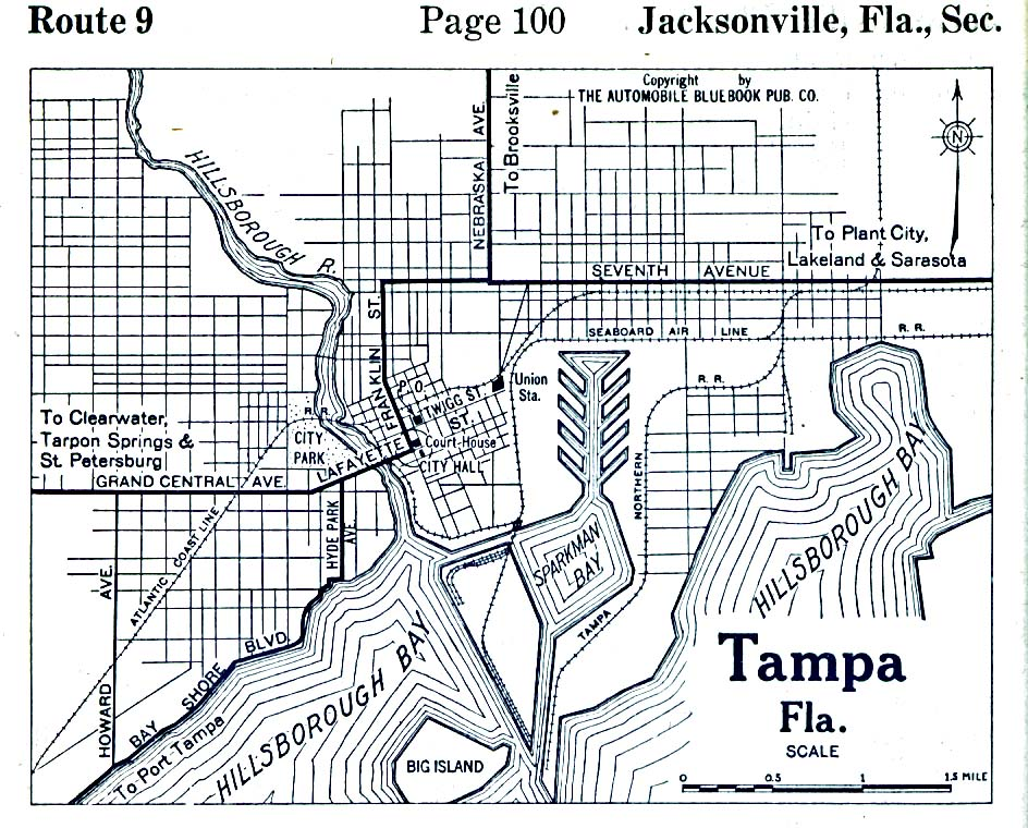 Historical Maps of U.S Cities. Tampa, Florida 1919 Automobile Blue Book (193K)