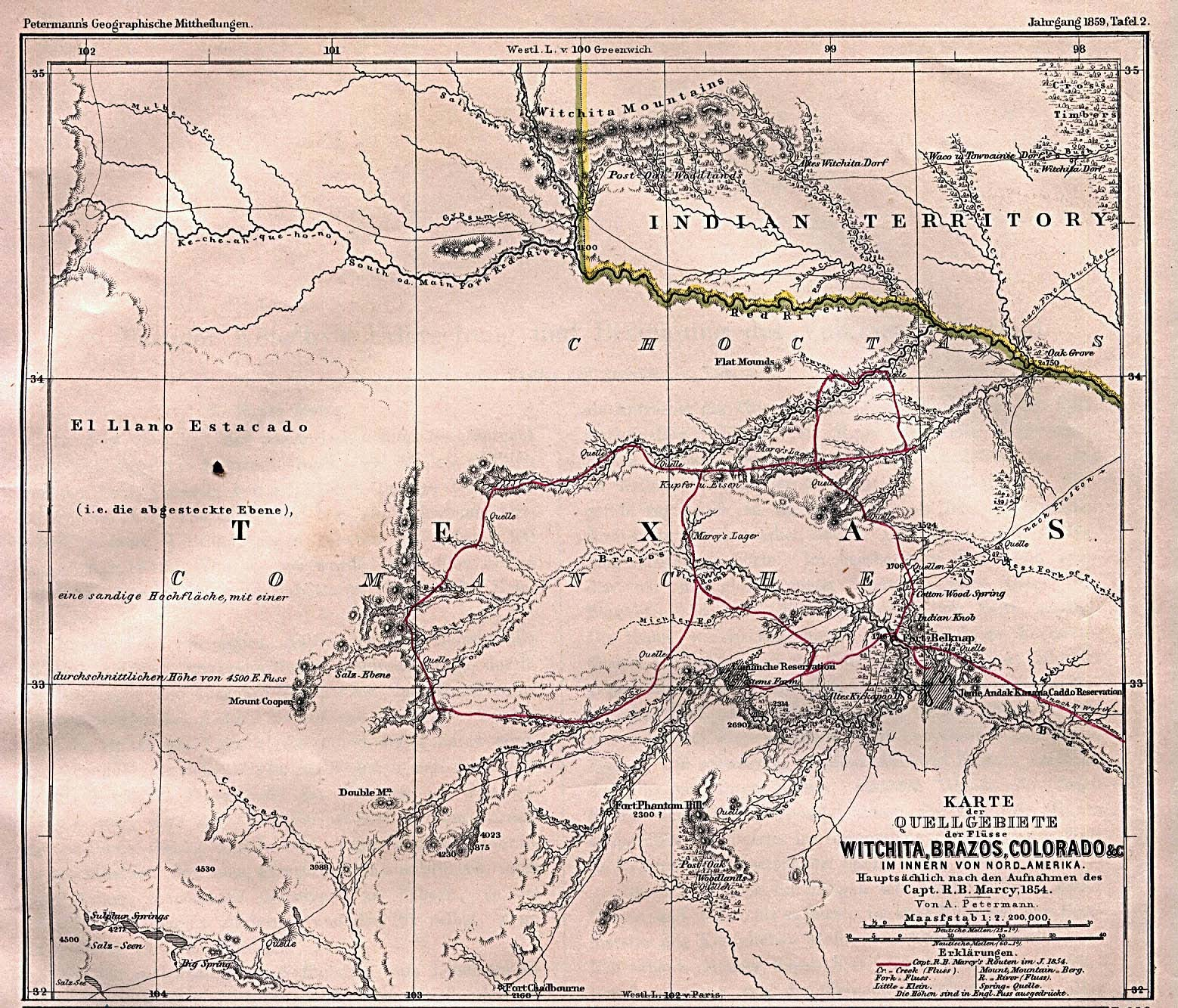 Captain Marcy S Route Though Texas 1854