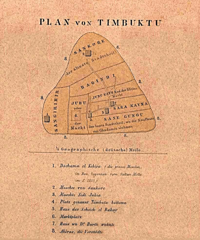 Historical Maps of Africa. Timbuktu 1855 (161K) Plan von Timbuktu [Tombouctou, Mali] From Mittheilungen aus Justus Perthes' Geographischer Anstalt uber Wichtige Neue Erforschungen auf dem Gesammtgebiete der Geographie von Dr. A. Petermann. Volume 1, 1855.