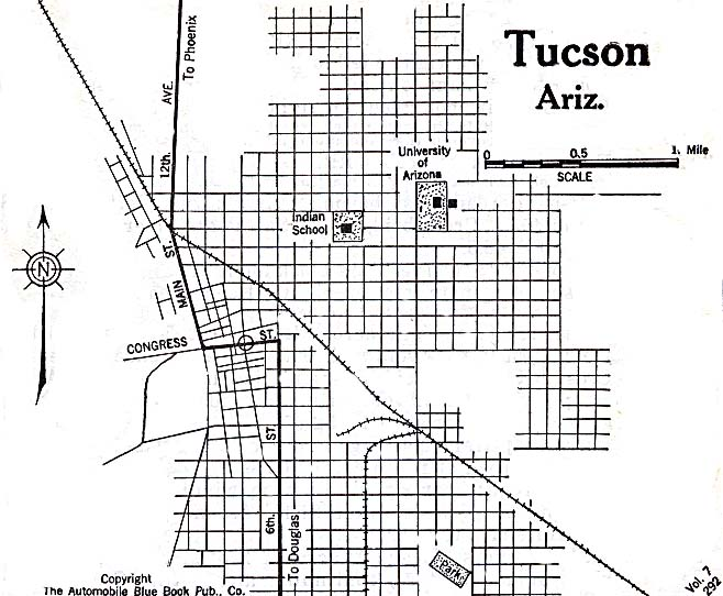 Historical Maps of U.S Cities. Tucson, Arizona 1920 Automobile Blue Book (117K)