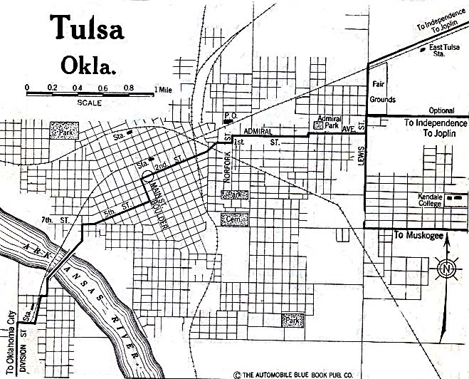 Historical Maps of U.S Cities. Tulsa, Oklahoma 1920 Automobile Blue Book (137K)