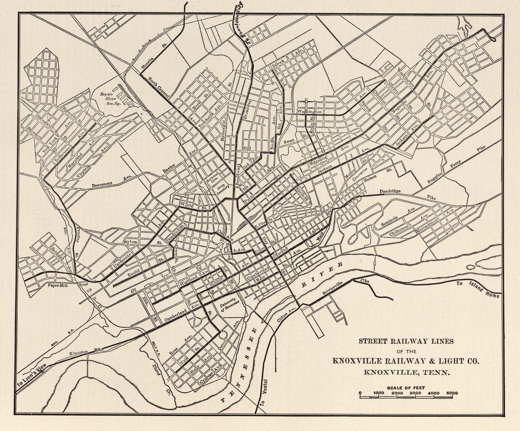 mcgraw electric railway manual  perrycastañeda map collection  - (kb) tennessee street railway lines of the knoxville railway  lightco knoxville tenn