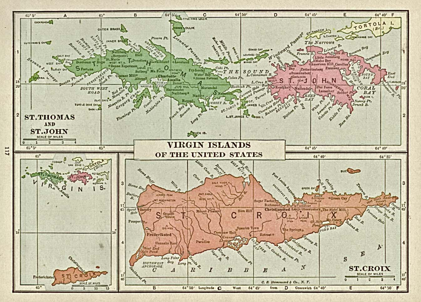 Americas Historical Maps PerryCastañeda Map Collection UT - Map of the virgin islands british and us