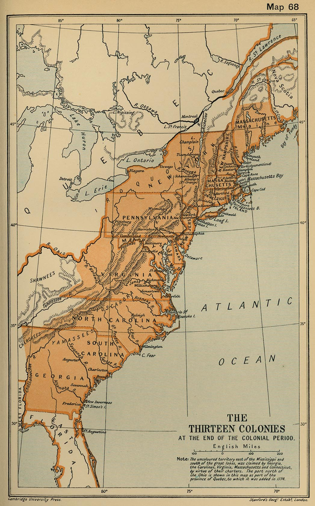 the thirteen colonies at the end of the colonial period 409k map
