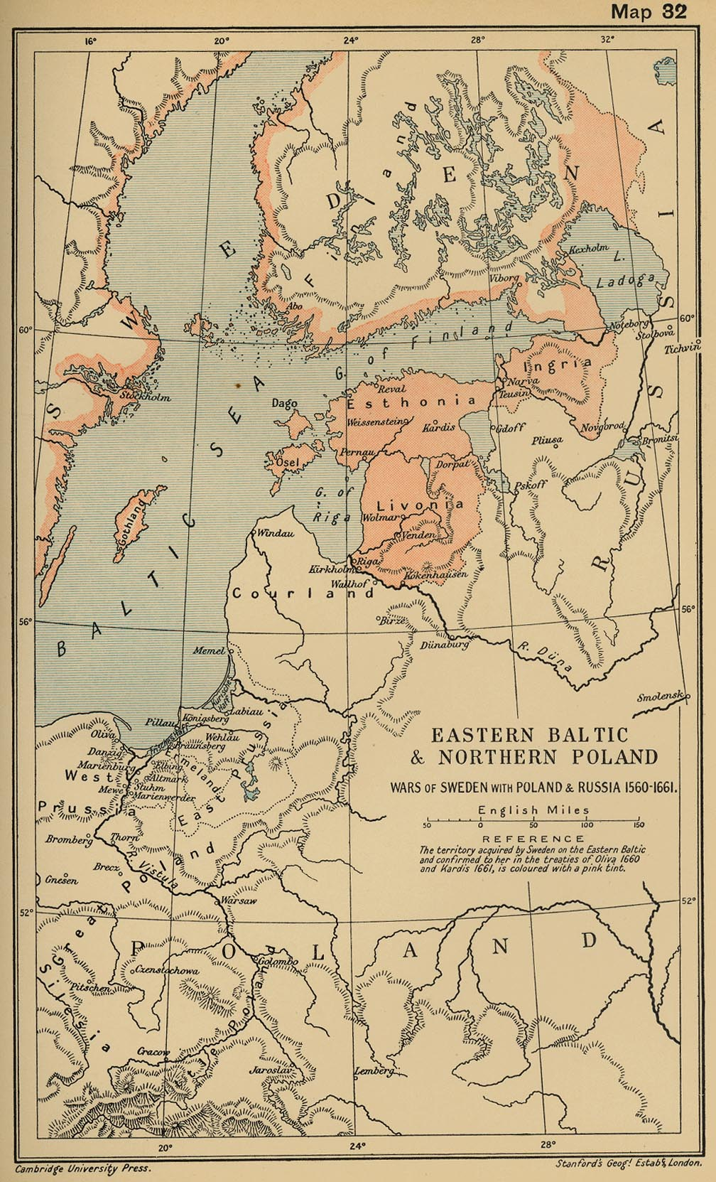 map 31 eastern baltic and northern poland wars of sweden with poland and russia 1560 1661