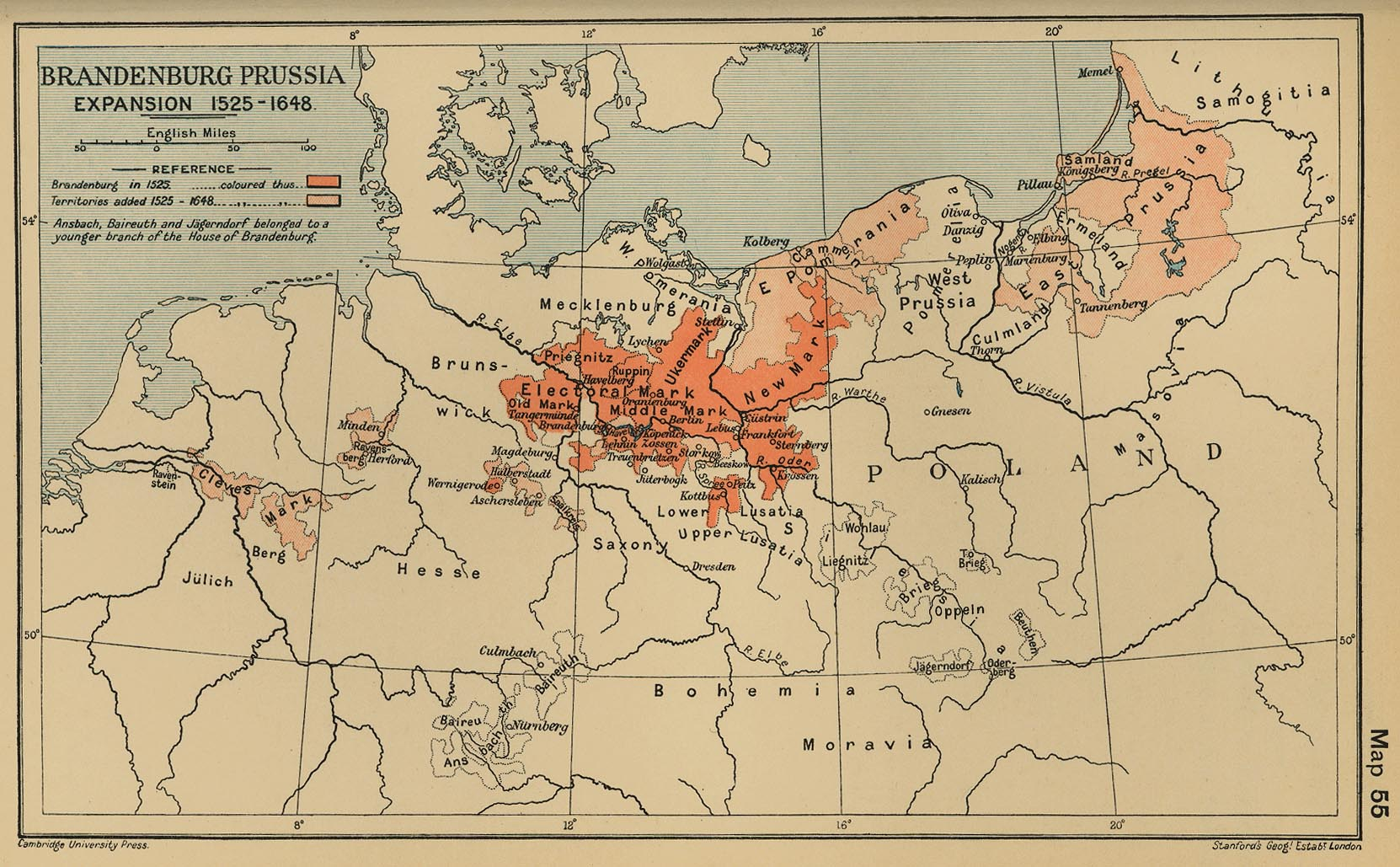 Historical maps of germany 1500 brandenburg prussia expansion 1525 1648 cambridge modern history atlas gumiabroncs Image collections