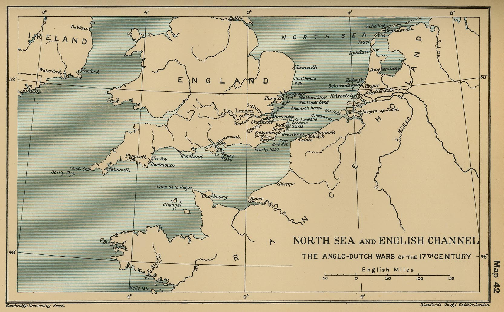 Map 41 North Sea And English Channel The Anglo Dutch Wars Of The 17th Century